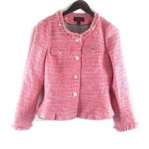 J Crew Peplum Lady Neon Ruffle Tweed Jacket
